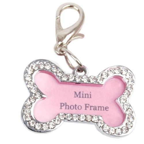 [Bone-shaped] Rhinestone Decorated Mini Photo Frame Style Dog ID Tag Cat ID Tag