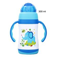 Lovely Cartoon Vacuum Insulated Stainless Steel Sippy Cup with Handle, 10 oz