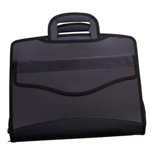 Multilayer Thicker File Holder Zippe Briefcase Information Bag-Black4
