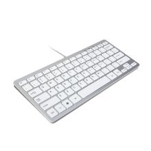 Trixes Minimal Slim Mini Wired Usb Keyboard Silver & White