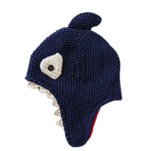 Warm Hat Knitted Hat Plus Velvet Ear Protection Hat Shark Pattern