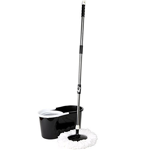 Gr8 Home 360° Floor Magic Wring Spin Mop Bucket Set Microfiber Rotating Spinning Dry Heads With 3 Cleaning Heads (Black)