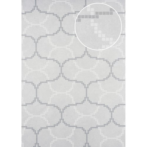 ATLAS HER-5132-2 Graphic wallpaper shimmering ivory oyster white 7.035 sqm