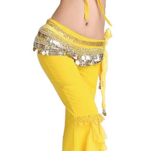 Yellow Belly Dance Scarf With Gold Coins Belt Velvet Skirt