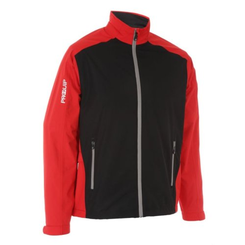 ProQuip Golf Mens Aquastorm PX1 Waterproof Rain Jacket Full Zip Red/Black Large