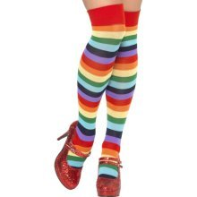 Smiffy's Clown Socks - Multi-colour, Long -  clown socks fancy dress long costume accessory multi circus striped colour adult unisex ladies rainbow