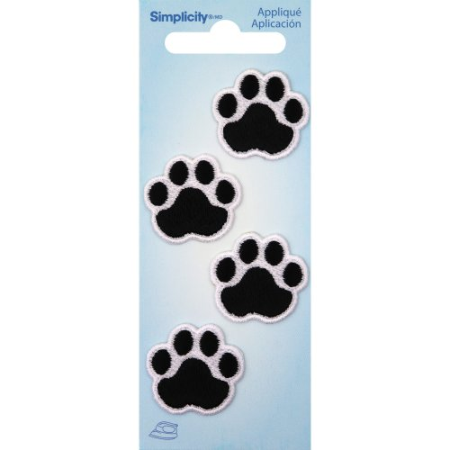 Wrights Iron-On Appliques 4/Pkg-Black Cat Paws