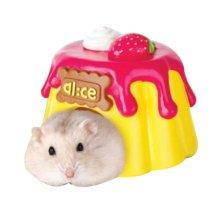 Hamsters Habitat Small Animals Toy (Pink Hippo Pattern, 9.5x8x6.5 cm)