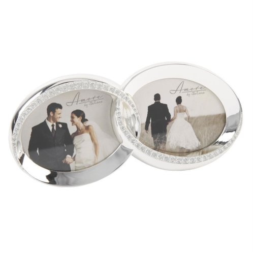 "Amore Silver Plated & Diamante ""Double Ring"" Wedding Photo Frame"