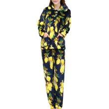 Casual Pajama Set Warm Sleepwear Home Apparel Flannel Pajamas X-large-A12