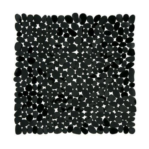 Pebble Design Square PVC Bath Mat, Black