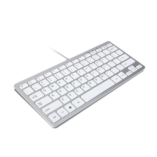 Trixes Slim Mini Wired USB Keyboard in Silver & White