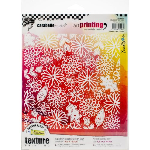 Carabelle Studio Art Printing Square Rubber Texture Plate-Flowers & Leaves