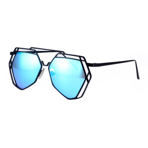 69951bcb3a Modern Polygon Fashion Eyewear Full Metal Frame Colored Lens Sunglasses