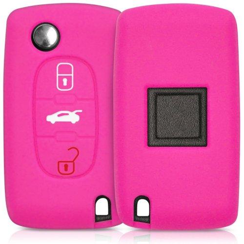 kwmobile Peugeot Citroen Car Key Cover - Silicone Protective Key Fob Cover for Peugeot Citroen 3 Button Car Key - Dark Pink