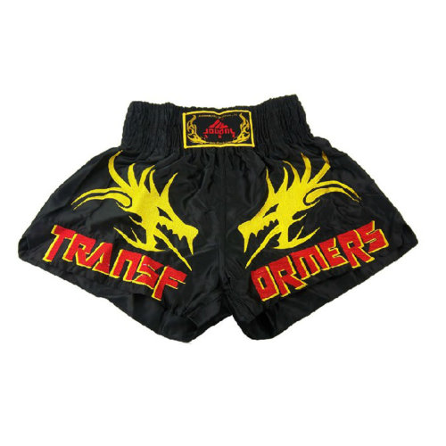 Black MMA Kick Boxing Trunks Fight Brief Muay Thai Satin Shorts, XXXL(183-192)