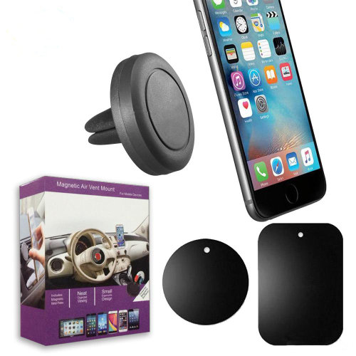 Magnetic Phone Holder, Magnet Air Vent Car Mobile Phone Mount with 2 Pack Strong Universal Magic Metal Plates Disc