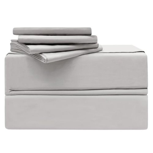Simply the Best YMS008207 Luxury 620 Thread Count 100 Percent Cotton Sheet Set, Platinum - California King - 6 Piece