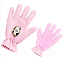 Pet Grooming Glove Brush Massage Tool with Five Finger Design Pink