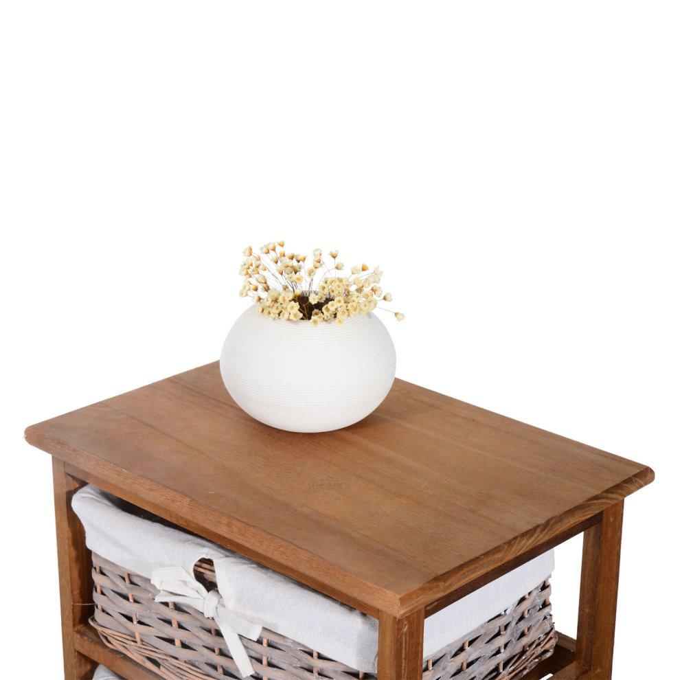 Homcom 5 Drawer Storage Unit Wooden Frame With Wicker