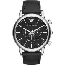 Emporio Armani AR1828 Watch Black Leather Man