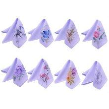 Purple Elegant And Retro Random Pattern Embroidery Handkerchief-Set Of One