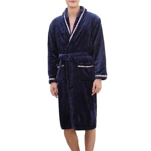Casual Pajama Set Warm Sleepwear Men/Lovers Flannel Nightgown XX-large-A4