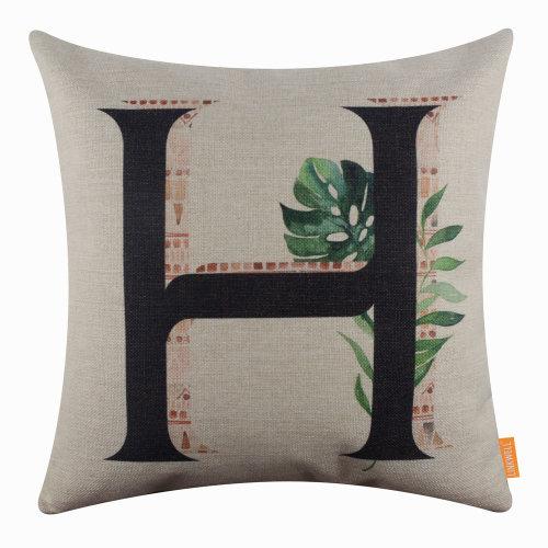 "18""x18"" Tropical Leaf Letter H Burlap Pillow Cover Cushion Cover"