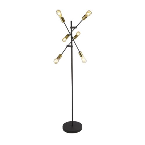 Searchlight Armstrong 6 Light Floor Lamp Black And Satin Brass