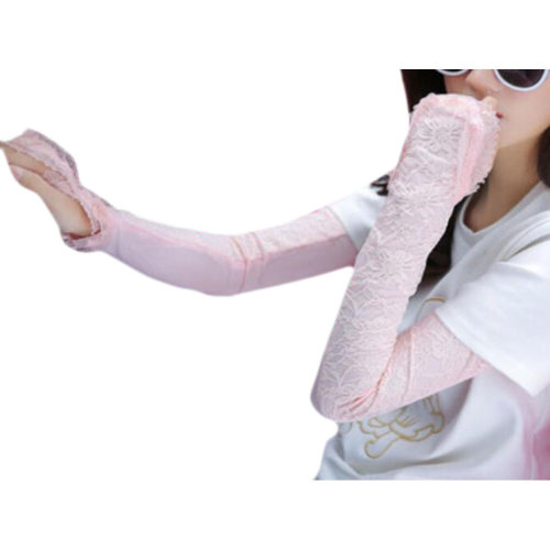 Lace Cotton Outdoor Sunscreen Clothing Women Gloves Breathable Sun Protective Sleeves-Pink