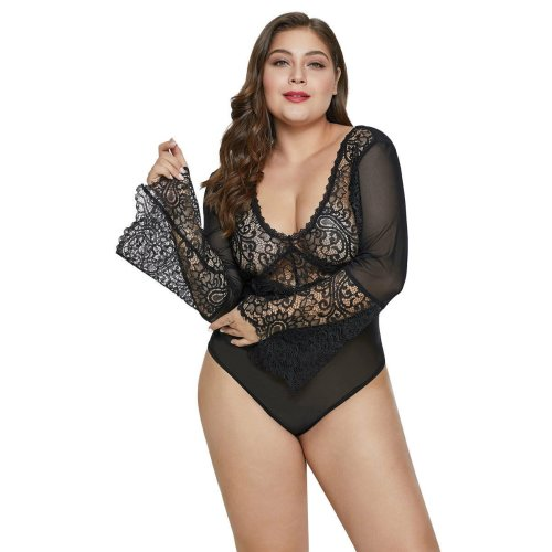 Stretchy Bell Sleeve Lace Mesh Plus Size Teddy Lingerie Bodysuit Thong