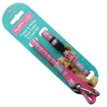 Pink Tartan 3 Piece Puppy Lead Set - Co Collar Hem Boo 10mm 120cm Nylon -  puppy co set tartan pink collar lead hem boo 10mm 120cm nylon