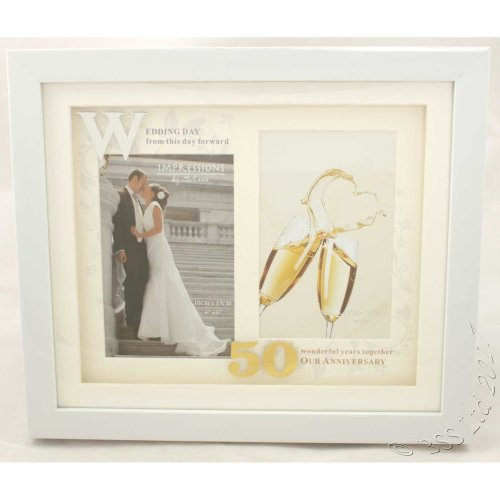 50th Anniversary White Double Photo Frame from Juliana's Impressions range