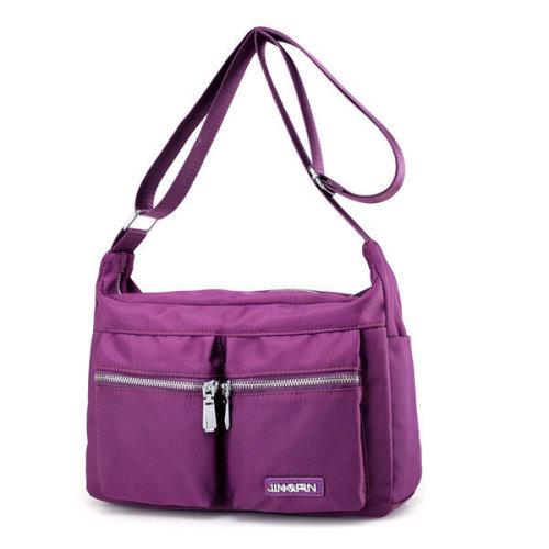 eef6f3603ea3 Women Nylon Light Shoulder Bags Front Pockets Waterproof Crossbody Bags  Messenger Bags on OnBuy