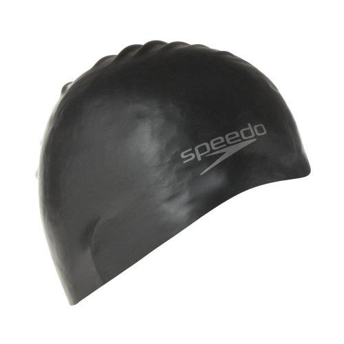 Adult Size Black Speedo Moulded Silicone Swim Cap - Swimming Plain New Longlife -  speedo cap moulded silicone swimming black plain new adult size