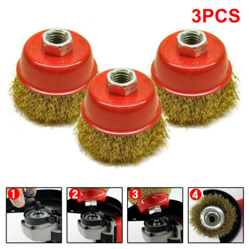 3pc 65mm Rotary Brass Steel Wire Brush Crimp Cup Set wheel Angle Grinder M14