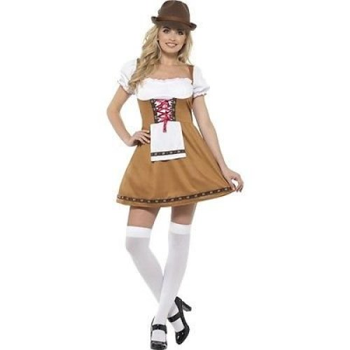 Bavarian Beer Maid Costume, Brown, With Short Dress & Attached Apron -  bavarian beer costume german festival fancy dress maid ladies outfit sl