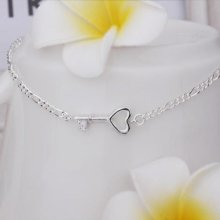 925 Stamped Sterling Silver Plated Ankle Anklet Key Design Adjustable