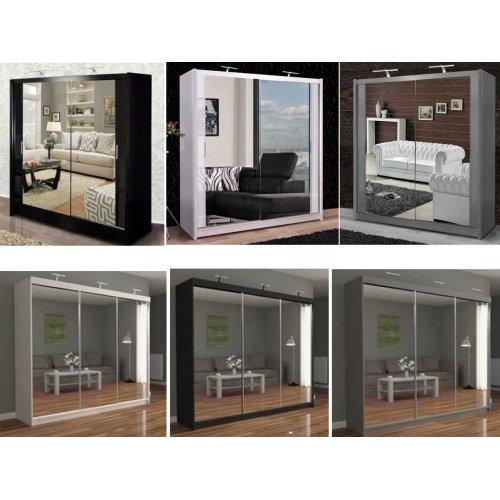 Modern Double / Three Sliding Door Wardrobe w/ Led