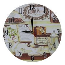 Obique Home Decoration Book & Cafe de Paris Scene MDF Wall Clock 28 cm