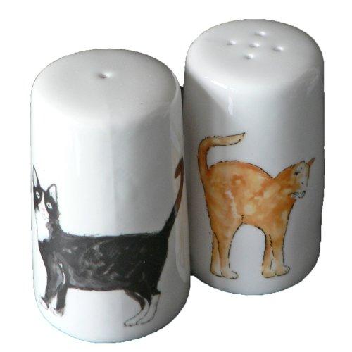 Cat salt and pepper set - Bone china cats cruet set