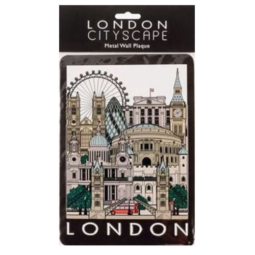 London Cityscape Collage Tin Metal Wall Sign Plaque Landmarks Novelty Door Hanging Gift Home Office Souvenir