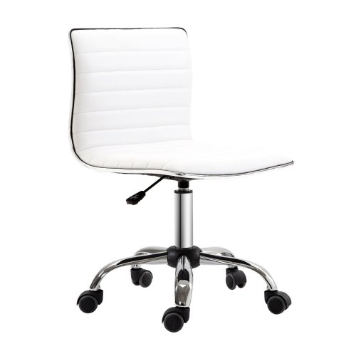 Homcom Adjustable Office Chair Mid-Back PU Leather - White