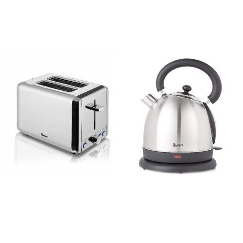 Silver Stainless Steel 1.8L 2.2kW Polished Dome Kettle & 2 Slice Toaster