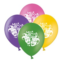 """Mardi Gras Masks  Mix 4 Assorted 12"""" Latex Balloons pack of 8"""