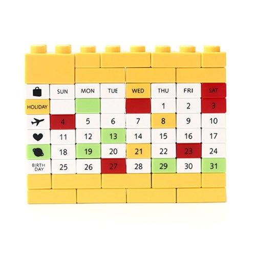 Creative Building Block Puzzle Calendar Perpetual Calendar Yellow