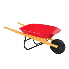 Outsunny Kids Garden Cart Toy Tools Wooden Handles Rubber Wheel Red