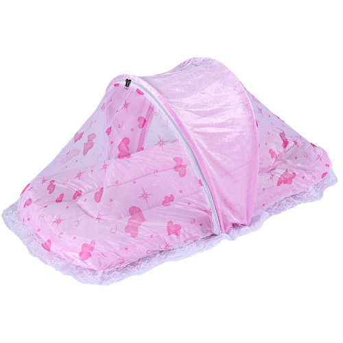 Foldable Mosquito Net with Sleeping Pad Insect Netting Cribs -Pink