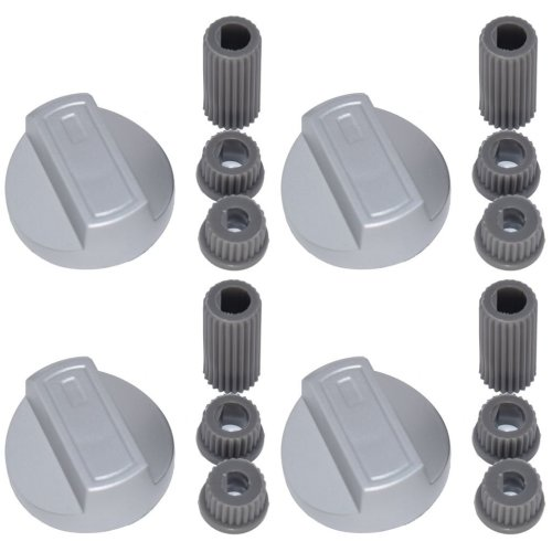 Universal Cooker Oven Grill Control Knobs And Adaptors Silver Fits All Gas Electric x 4