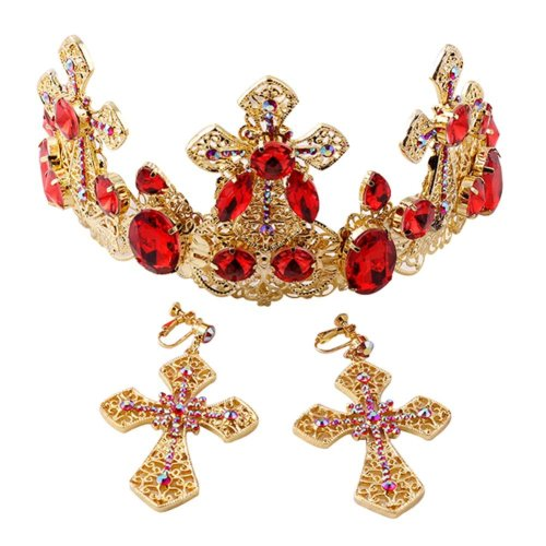 Elegant Western Style Retro Gold Plated Wedding Head Crown with Ear Ring Set